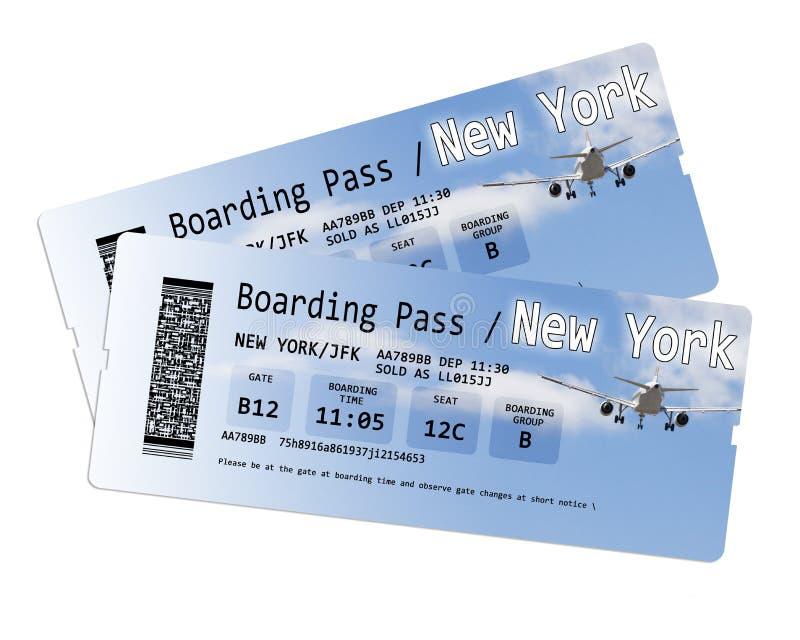 Los boletos del documento de embarque de la línea aérea a Nueva York aislaron en blanco fotografía de archivo libre de regalías