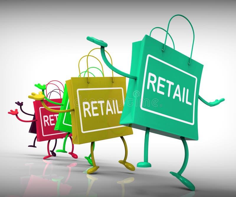 Los bolsos al por menor muestran ventas y comercio comerciales libre illustration