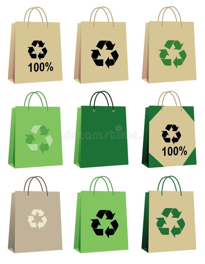 Los bolsos de compras reciclan ilustración del vector