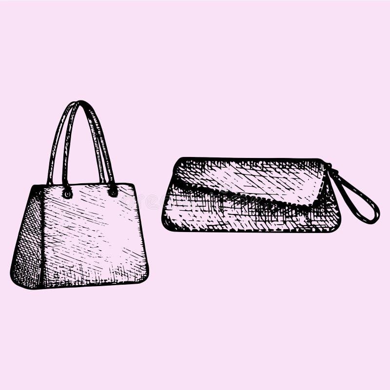 Los bolsos de las mujeres y bolso de embrague ilustración del vector