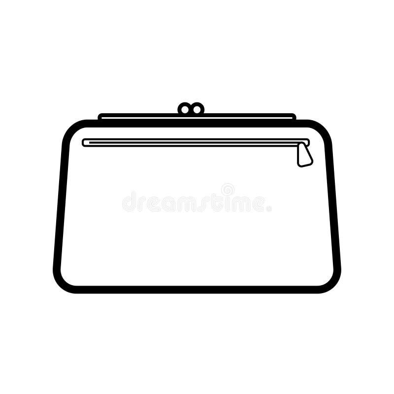 Los bolsos hermosos de las mujeres atractivas de moda lineares simples del icono blanco y negro, bolsos cosméticos, bolsos de emb ilustración del vector