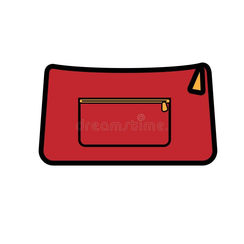 Los bolsos hermosos de las mujeres atractivas de moda simples del icono plano rojo, bolsos cosméticos, bolsos de embrague para al ilustración del vector