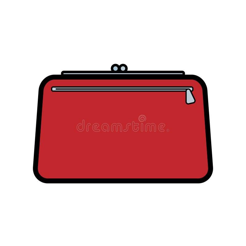 Los bolsos hermosos de las mujeres atractivas de moda simples del icono rojo plano, bolsos cosméticos, bolsos de embrague para al stock de ilustración