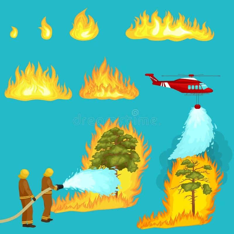 Los bomberos en ropa protectora y casco con el helicóptero extinguen con agua del incendio fuera de control peligroso de las mang stock de ilustración
