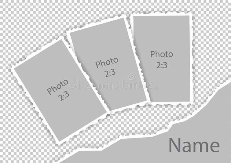 Los bordes rasgados confinan la plantilla de papel de los marcos de la foto del estilo libre illustration