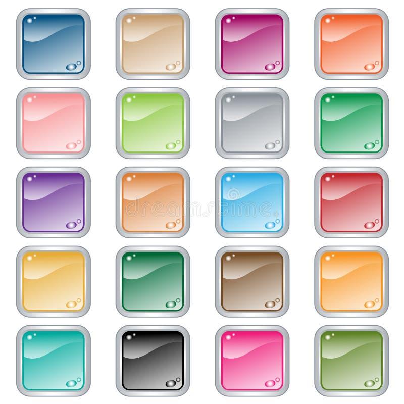 Los botones cuadrados del Web fijaron de 20 en colores clasificados ilustración del vector