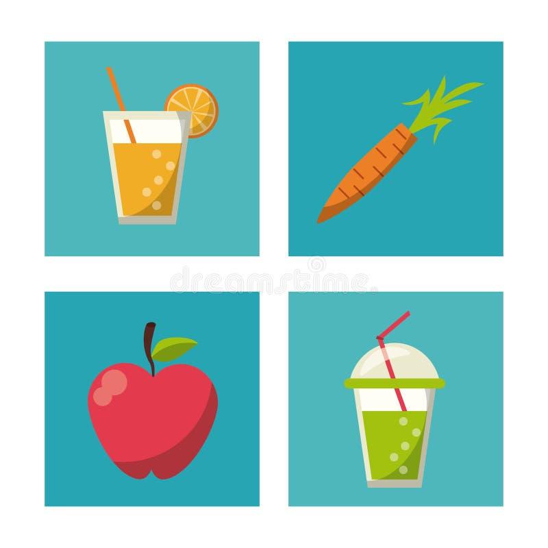 Los botones cuadrados multicolores fijaron de frutas y de bebidas sanas libre illustration