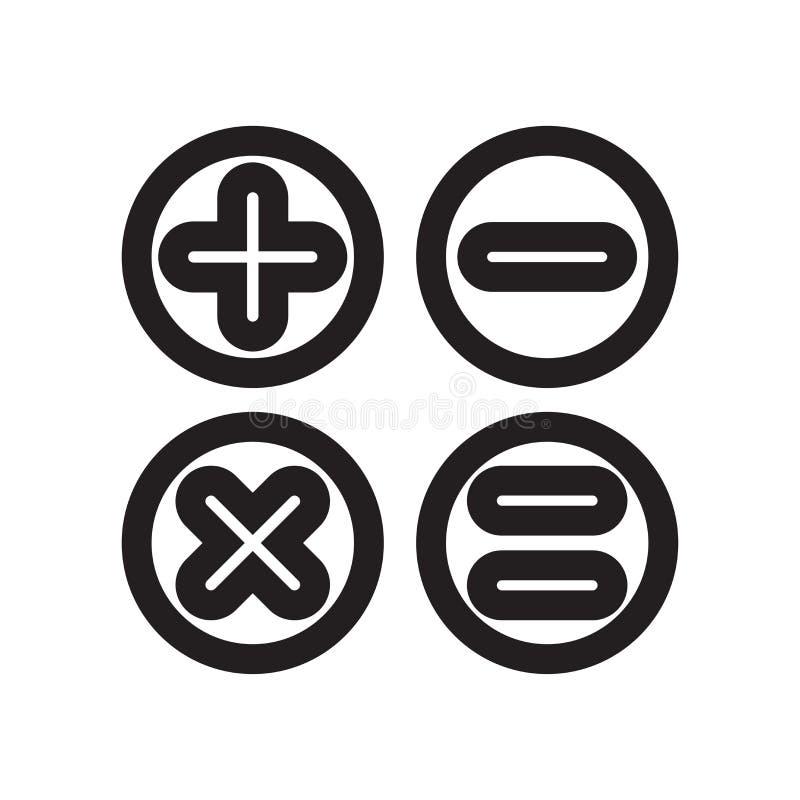 Los botones de la calculadora interconectan la muestra del vector del icono del símbolo y el símbolo aislado en el fondo blanco,  libre illustration