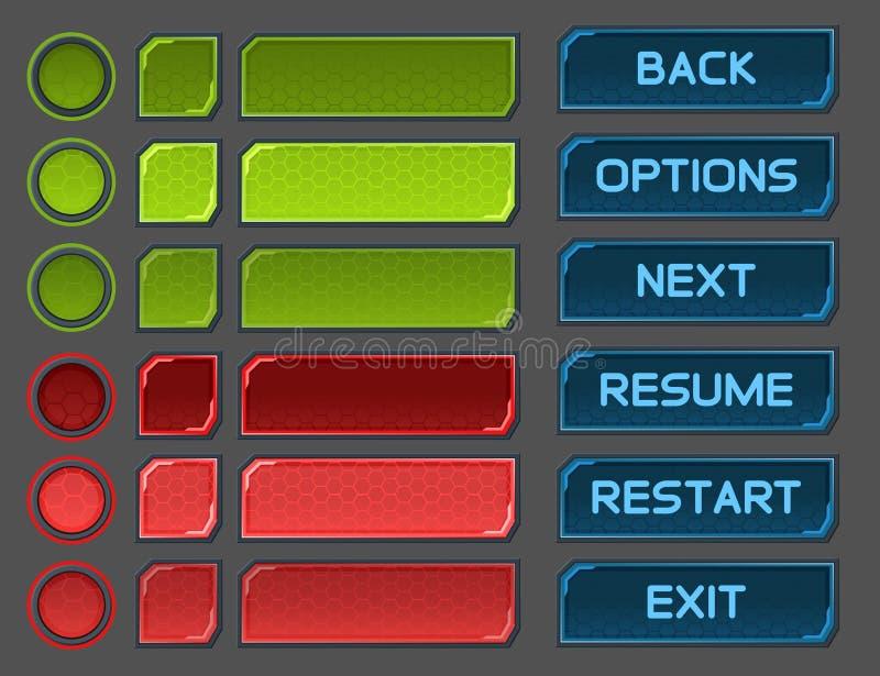 Los botones del interfaz fijaron para los juegos o los apps del espacio ilustración del vector