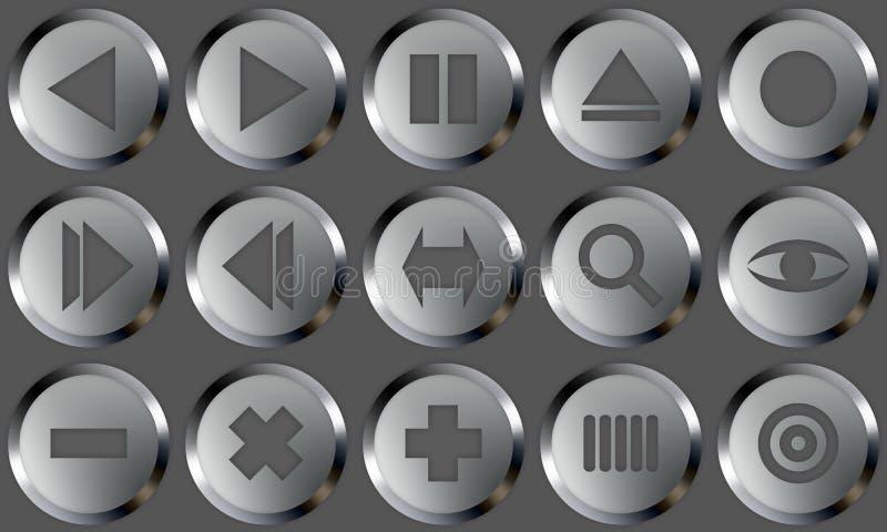 Los botones del metal fijaron 2 ilustración del vector