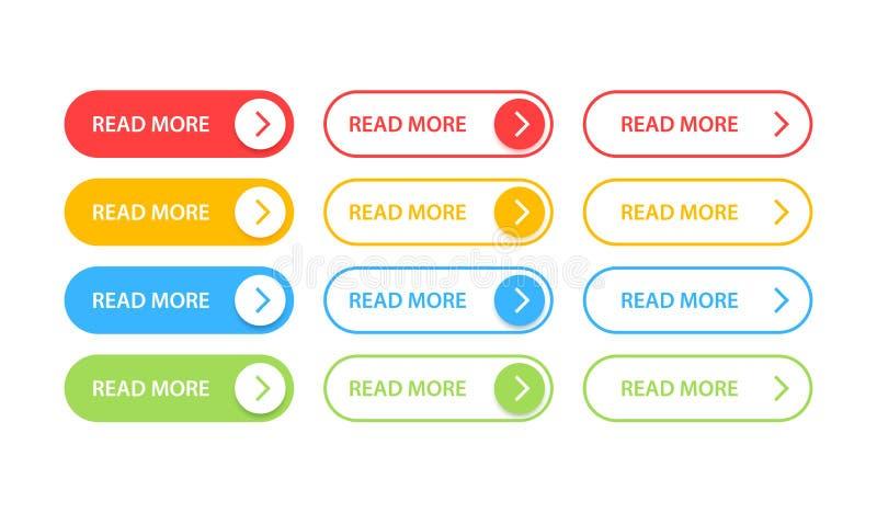 Los botones grandes de la colección leyeron más Diverso sistema colorido del botón Iconos del Web Ilustraci?n del vector ilustración del vector