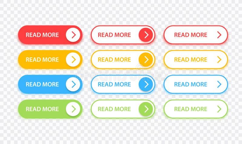 Los botones grandes de la colecci?n leyeron m?s Diverso sistema colorido del bot?n Iconos del Web Ilustraci?n del vector libre illustration