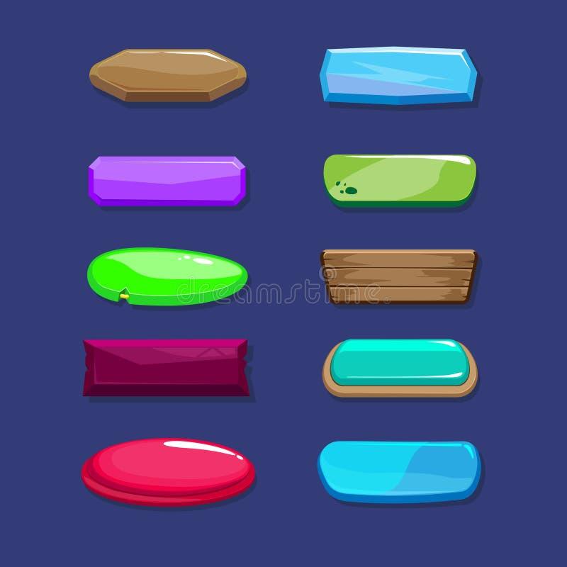 Los botones horizontales largos de la historieta divertida fijaron, los activos del vector para el juego o diseño web ilustración del vector