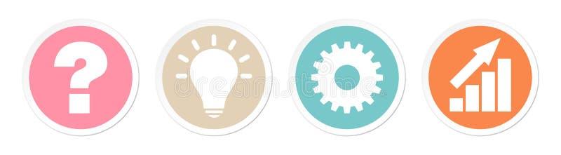Los botones preguntan el trabajo de la idea y colores retros del éxito stock de ilustración