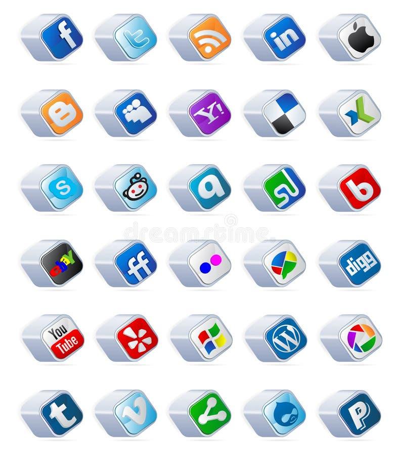 los botones sociales de los media fijaron ilustración del vector
