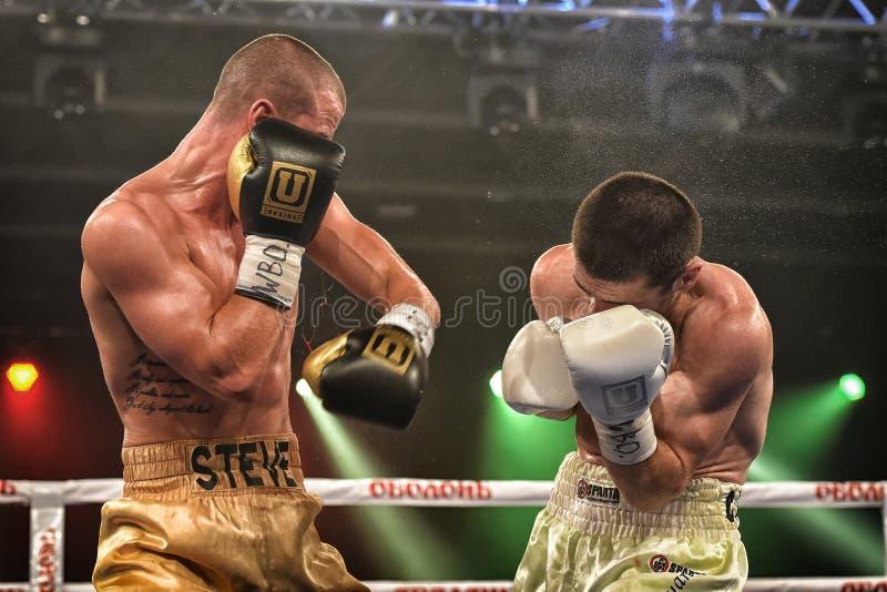 Los boxeadores no identificados en el anillo durante la lucha para alinear señalan imagen de archivo libre de regalías