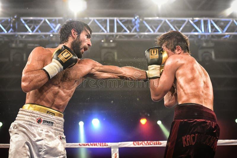 Los boxeadores no identificados en el anillo durante la lucha para alinear señalan fotografía de archivo