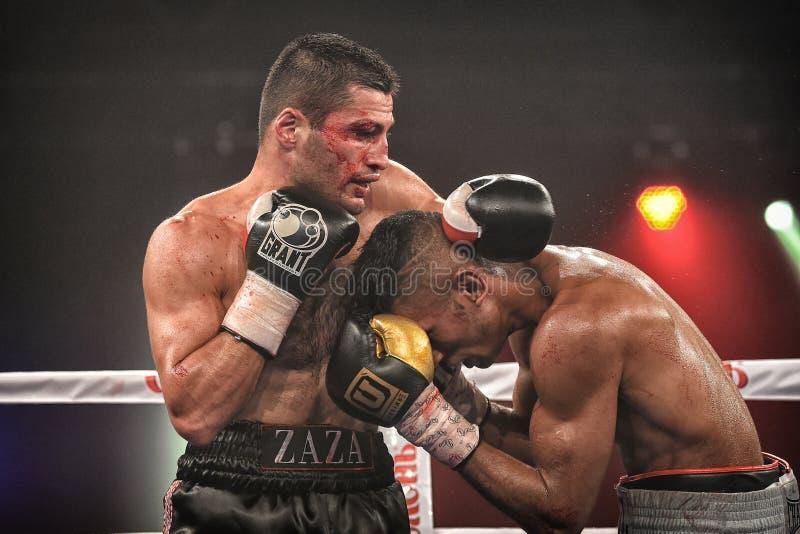 Los boxeadores no identificados en el anillo durante la lucha para alinear señalan fotos de archivo