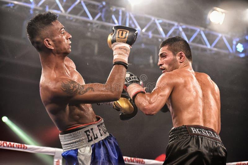 Los boxeadores no identificados en el anillo durante la lucha para alinear señalan imagenes de archivo