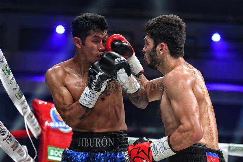 Los boxeadores Ramil Gadzhyiev y Bruno Sandoval luchan para el título de peso medio estupendo de plata internacional del consejo  fotografía de archivo