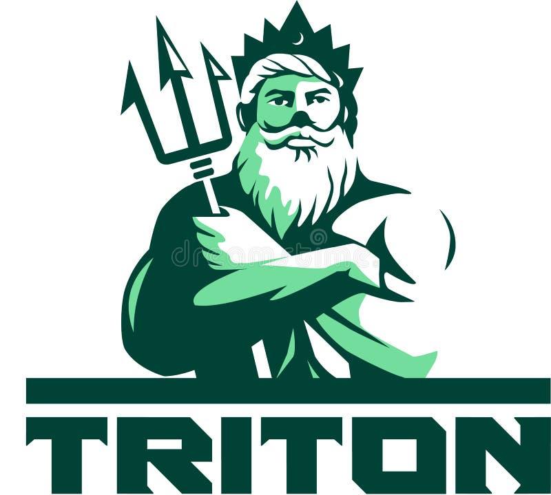 Los brazos de Tritón cruzaron Trident Front Retro stock de ilustración