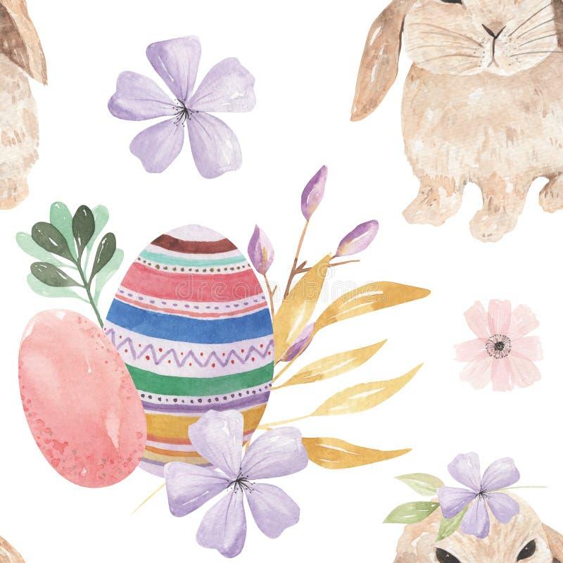 Los brotes de hojas de Bunny Easter Egg Patterns Floral de la acuarela arquean modelos inconsútiles libre illustration