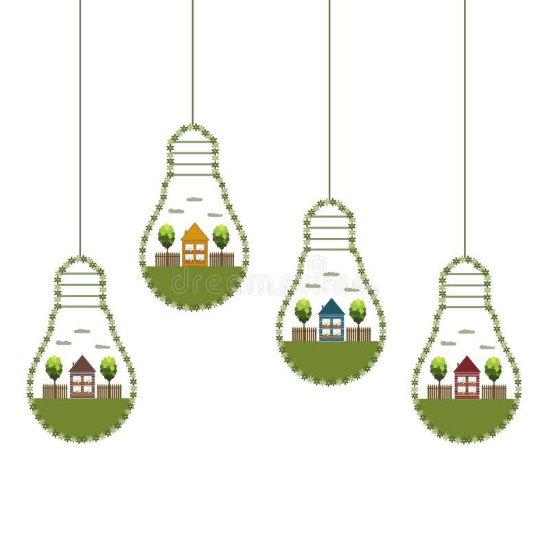 Los bulbos de la luz verde con las casas y los árboles de madera de Eco, piensan concepto verde libre illustration