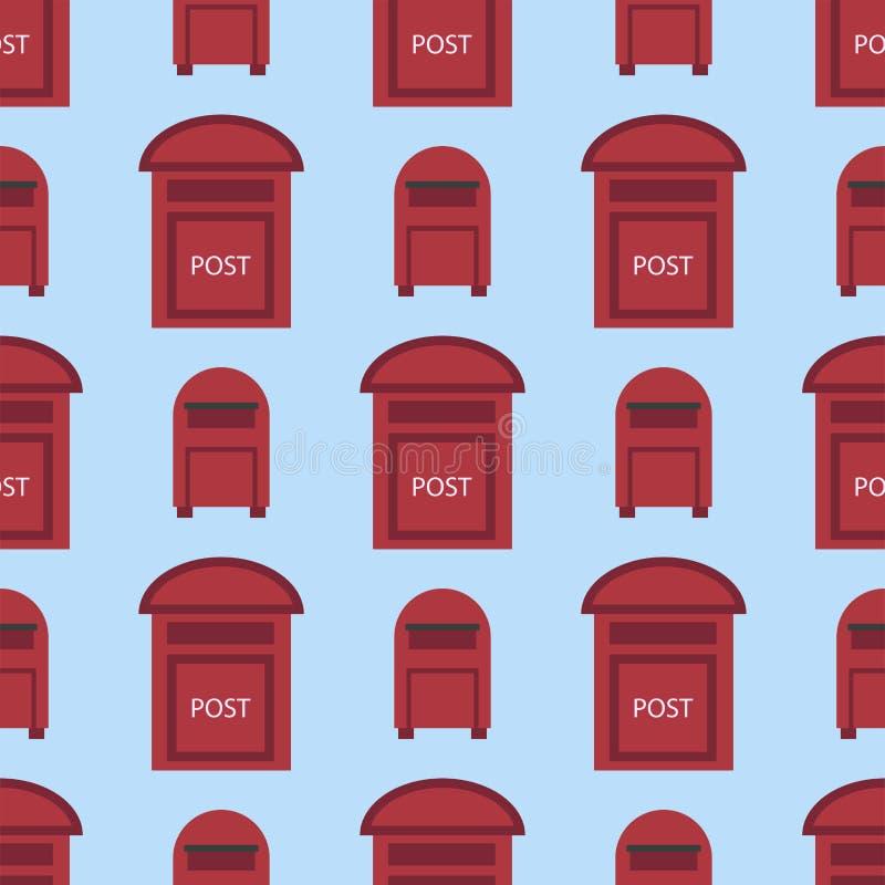 Los buzones postales del modelo inconsútil rural hermoso del curbside con el semáforo señalan el ejemplo del vector por medio de  stock de ilustración