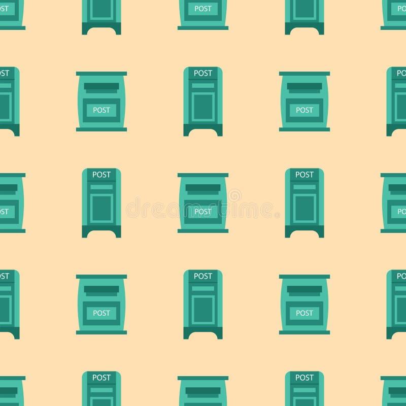 Los buzones postales del modelo inconsútil rural hermoso del curbside con el semáforo señalan el ejemplo del vector por medio de  libre illustration
