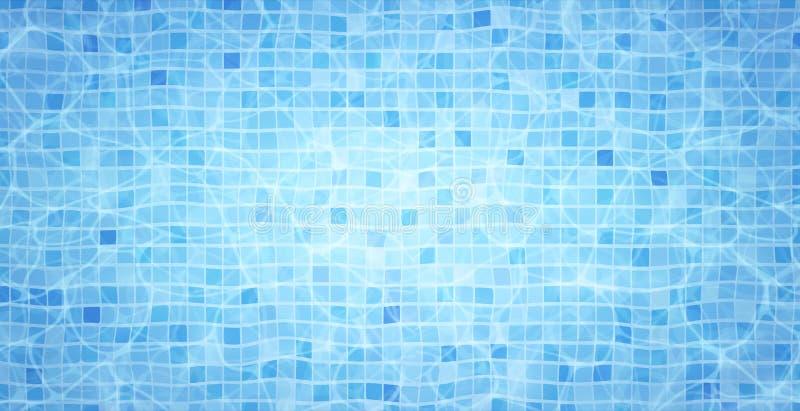 Los cáusticos de la parte inferior de la piscina ondulan y fluyen con el fondo de las ondas Fondo del verano Textura de la superf ilustración del vector