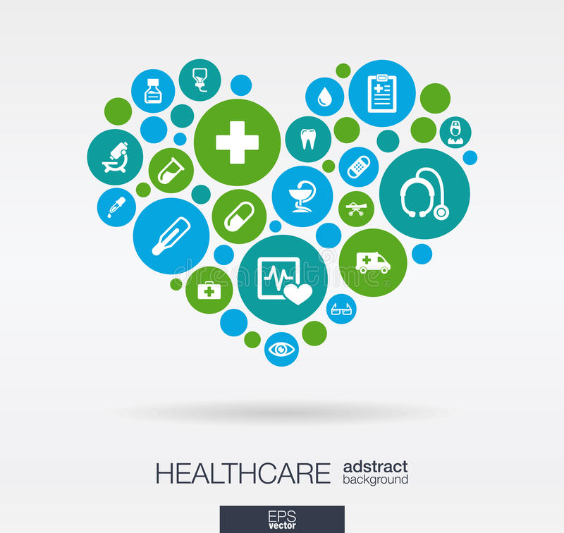 Los círculos de color con los iconos planos en un corazón forman: medicina, médica, salud, cruz, conceptos de la atención sanitar libre illustration