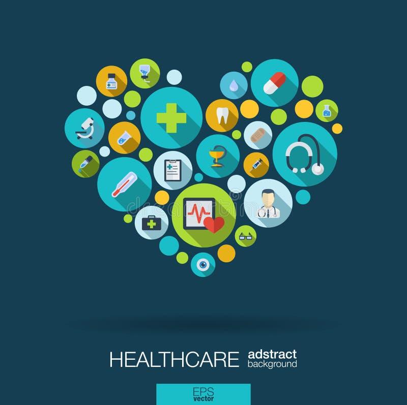 Los círculos de color con los iconos planos en un corazón forman para la medicina, médico, salud, cruz, conceptos de la atención  ilustración del vector