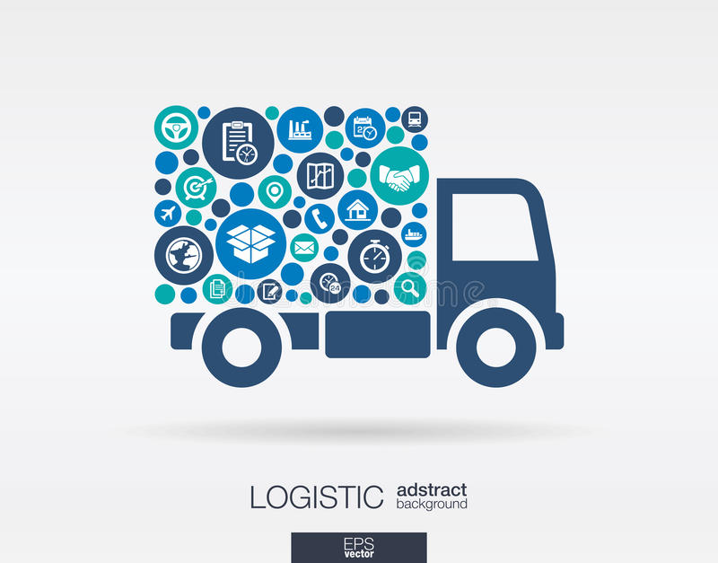 Los círculos de color, los iconos planos en un camión forman: distribución, entrega, servicio, envío, logístico, transporte, conc stock de ilustración