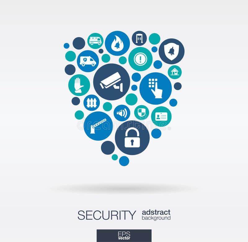 Los círculos de color, los iconos planos en un escudo forman: tecnología, guardia, protección, seguridad, conceptos de control ab stock de ilustración