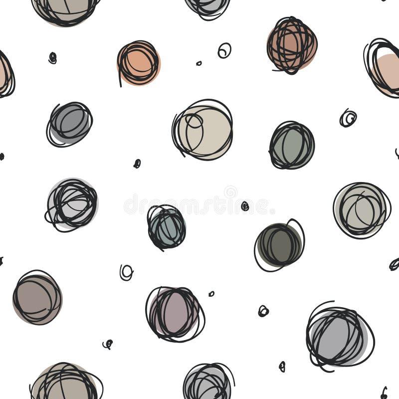 Los círculos descuidados, garabato al azar puntean el modelo inconsútil stock de ilustración