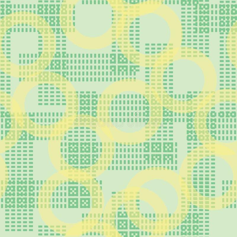 Los círculos geométricos abstractos amarillos del verde del vector y las líneas de puntos texturizan el modelo inconsútil de la r ilustración del vector