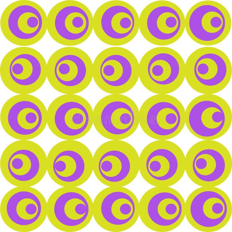 Los círculos se hacen en color de la lila y de la aceituna en un fondo blanco Un modelo geométrico simple libre illustration