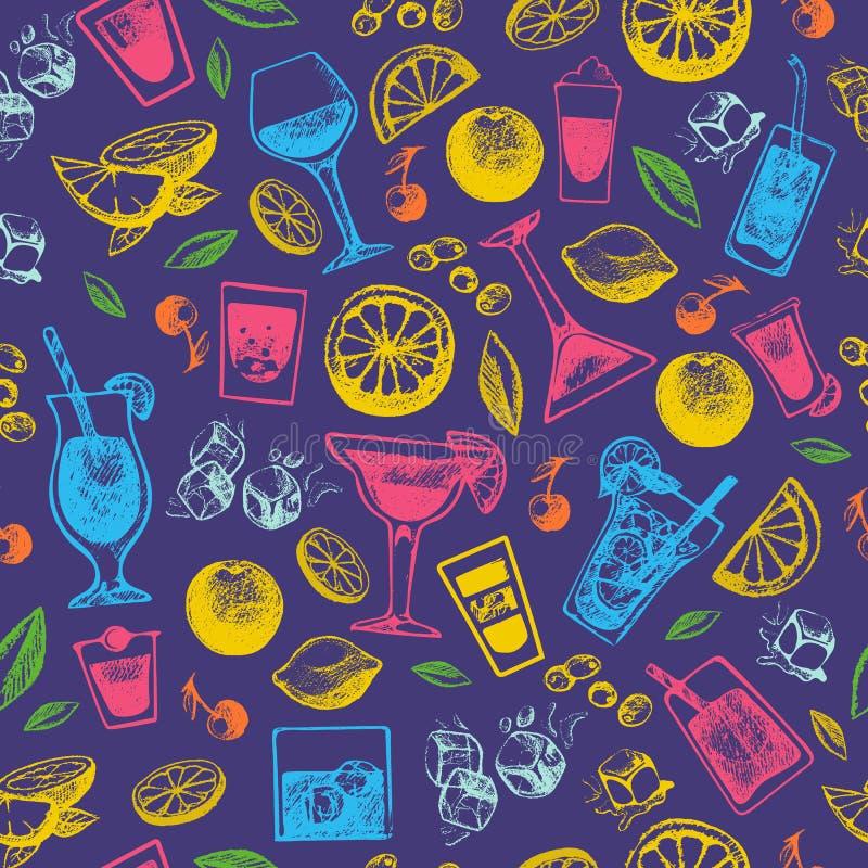 Los cócteles del alcohol beben el ejemplo dulce alcohólico dibujado mano de la colección del estilo del vintage y del vector del  stock de ilustración