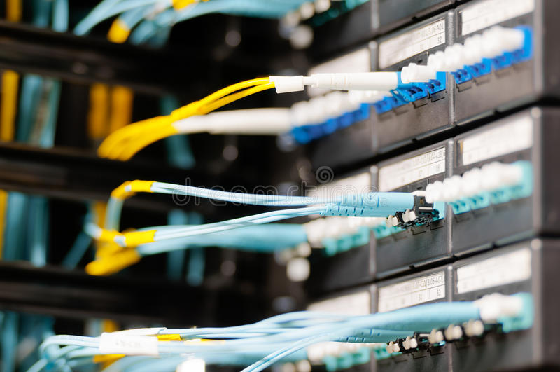 Los cables ópticos conectaron con el panel en sitio del servidor. imagen de archivo