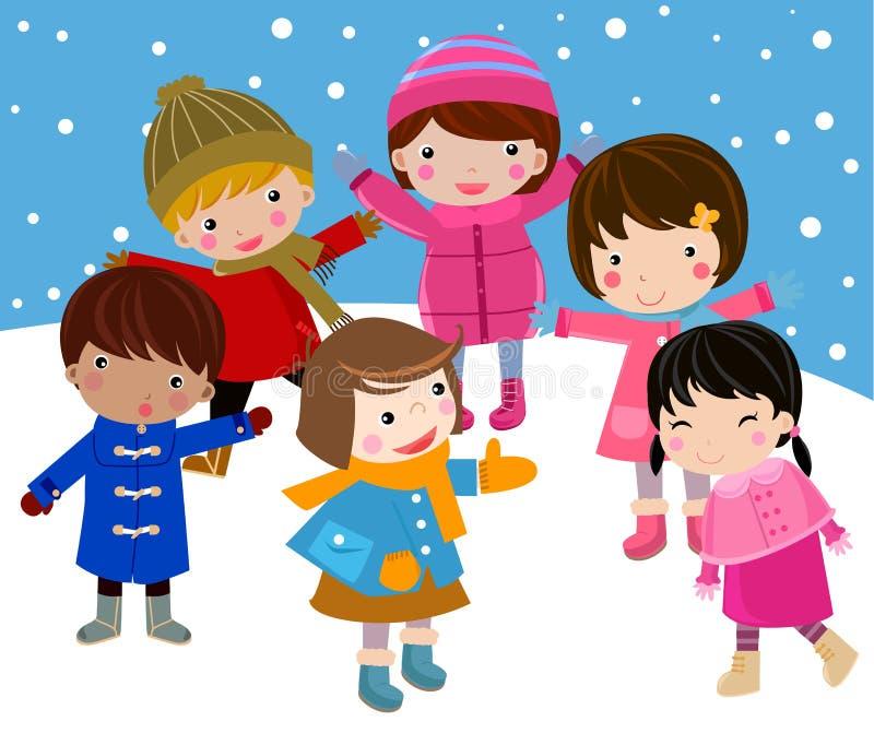 Los cabritos ensamblan nieve ilustración del vector