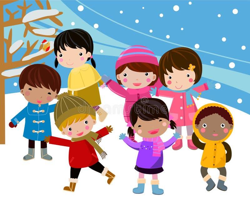 Los cabritos ensamblan nieve libre illustration