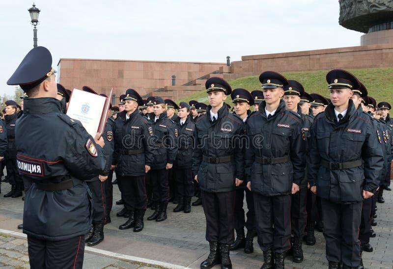 Los cadetes de la universidad de la ley de Moscú del ministerio de asuntos internos de Rusia toman el juramento fotos de archivo libres de regalías