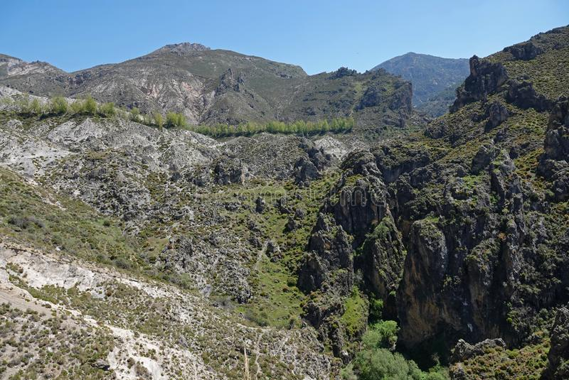 Los Cahorros mountains and gorge near Granada in Andalusia royalty free stock image