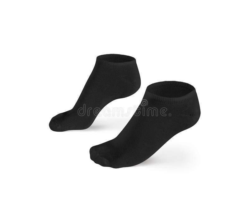 Los calcetines en blanco del cortocircuito del negro diseñan la maqueta, aislada, trayectoria de recortes imagen de archivo libre de regalías