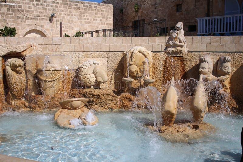 Los callejones del zodiaco, muestras astrológicas de la fuente, ciudad vieja de Jaffa, Tel Aviv fotos de archivo libres de regalías