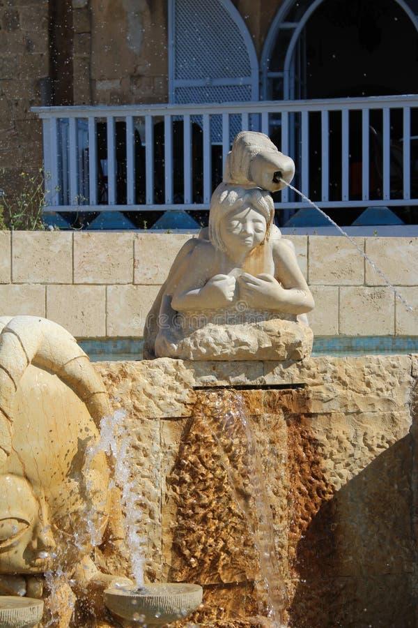 Los callejones del zodiaco, muestras astrológicas de la fuente, ciudad vieja de Jaffa, Tel Aviv foto de archivo libre de regalías