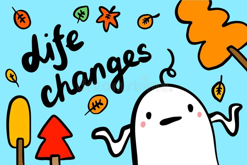 Los cambios de la vida dan el ejemplo exhausto del vector en sryle de la historieta Hombre perdido en otoño libre illustration
