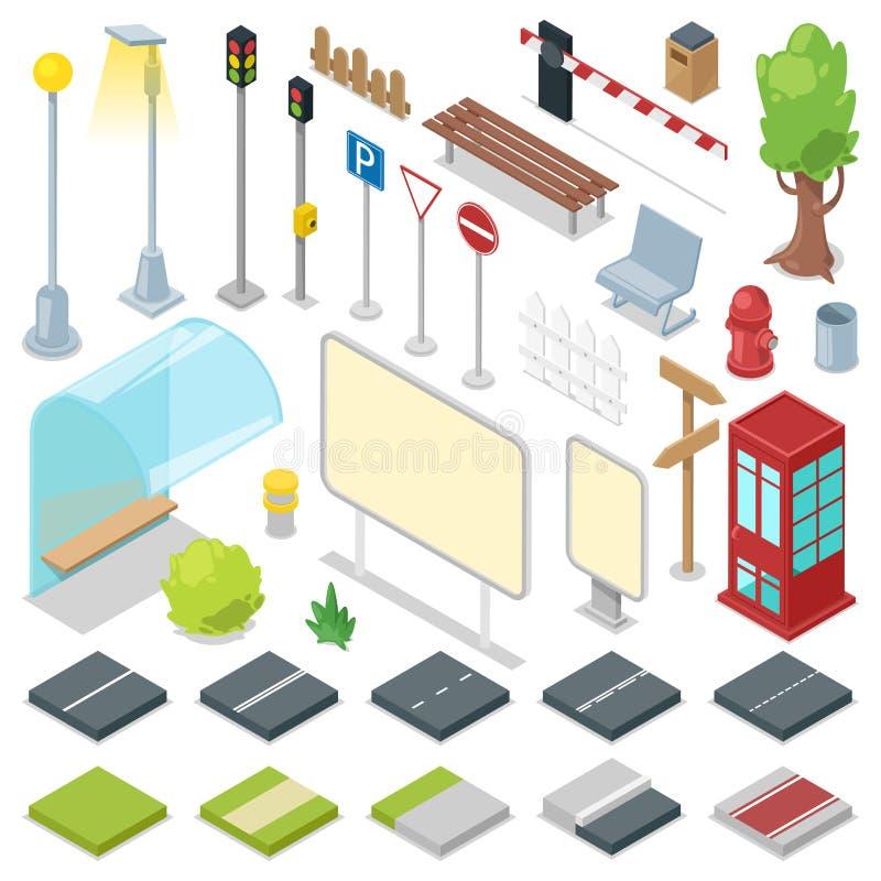 Los caminos de ciudad del vector de la calle con el semáforo y el autobús paran el ejemplo del parque isométrico con el banco y l stock de ilustración