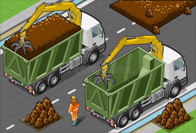 Camiones isométricos de los envases con el brazo stock de ilustración