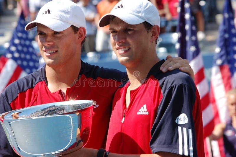 Los campeones los E.E.U.U. de Bryan Mike y de Bob abren 2008 fotos de archivo